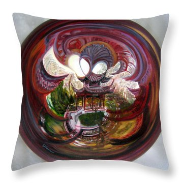 Throw Pillow featuring the painting Anamorphic Chinese Pagoda by LaVonne Hand