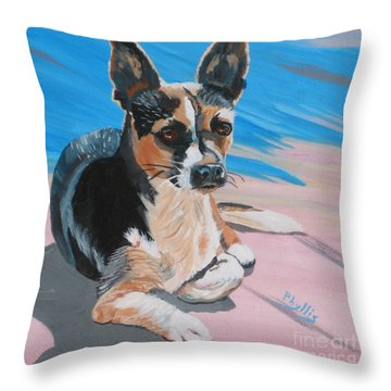 Ancho A Portrait Of A Cute Little Dog Throw Pillow by Phyllis Kaltenbach