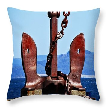 Aaron Lee Berg Throw Pillow featuring the photograph Ship's Anchor  by Aaron Berg
