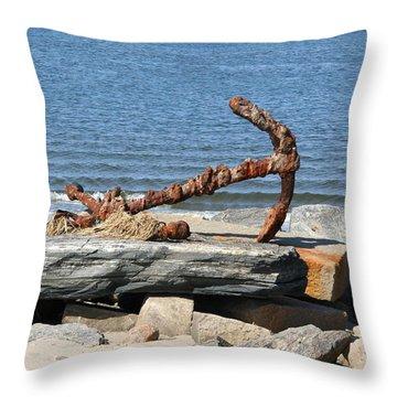 Throw Pillow featuring the photograph Anchor by Karen Silvestri