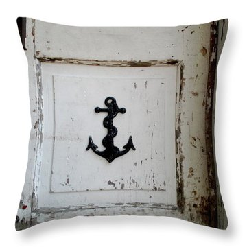 Anchor On Old Door Throw Pillow by Kathy Barney