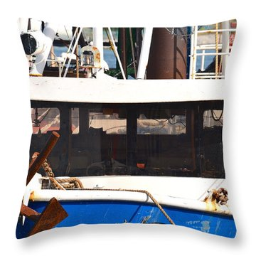 Throw Pillow featuring the photograph Anchor Up Close by AnnaJo Vahle