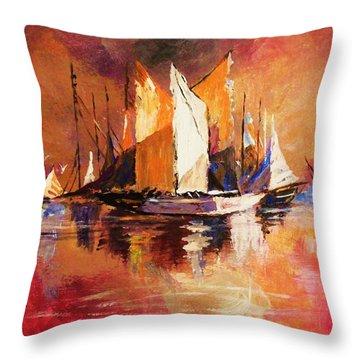 Anchored At Sunset Throw Pillow