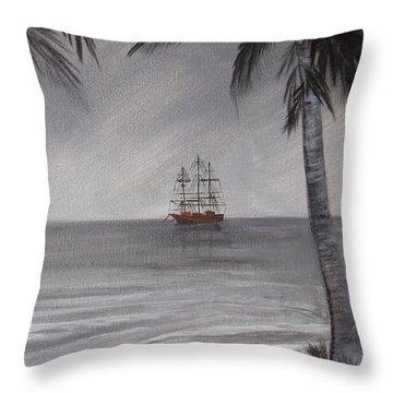 Throw Pillow featuring the painting Anchored For The Night by Virginia Coyle