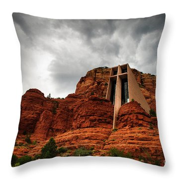 Throw Pillow featuring the photograph Anchored On The Rock Sedona Az by Terry Garvin