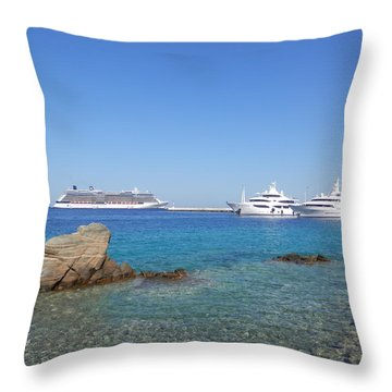 Anchored Ships Throw Pillow