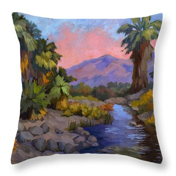 Ancient Cahuilla Fish Traps Throw Pillow by Diane McClary