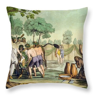 Ancient Celts Or Gauls Sacrificing Throw Pillow by Vittorio Raineri