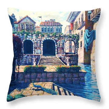 Throw Pillow featuring the painting Ancient City by Cheryl Del Toro