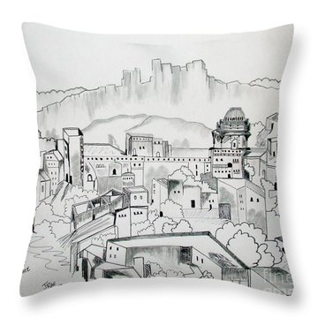Throw Pillow featuring the drawing Ancient City In Pen And Ink by Janice Rae Pariza