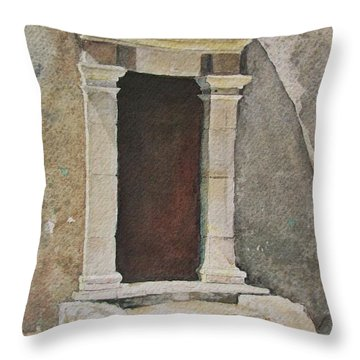 Throw Pillow featuring the painting Ancient  Doorway  by Mary Ellen Mueller Legault