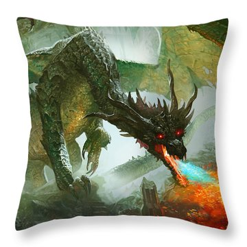 Ancient Dragon Throw Pillow