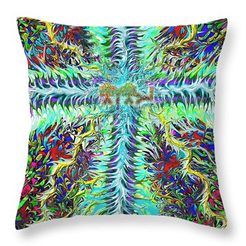 Ancient Hebrew Yhwh Cross 6 7 2014 Throw Pillow