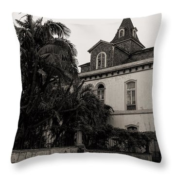Ancient Hotel And Lush Trees  Throw Pillow