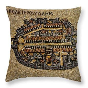 Ancient Jerusalem Mosaic Map Color Framed Throw Pillow