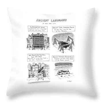 Ancient Landmarks Of New York City Throw Pillow