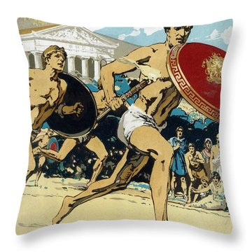 Ancient Olympic Games  The Relay Race Throw Pillow