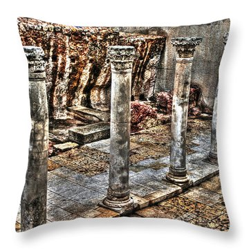 Throw Pillow featuring the photograph Ancient Roman Columns In Israel by Doc Braham