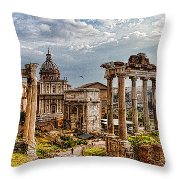 Ancient Roman Forum Ruins - Impressions Of Rome Throw Pillow