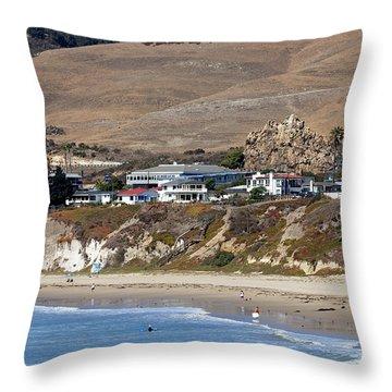 Ancient Sea Stack At Pismo Beach Throw Pillow by Susan Wiedmann