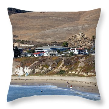 Ancient Sea Stack At Pismo Beach Throw Pillow
