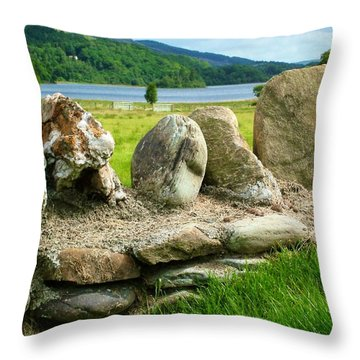 Ancient Stone Wall At Loch Achray Throw Pillow