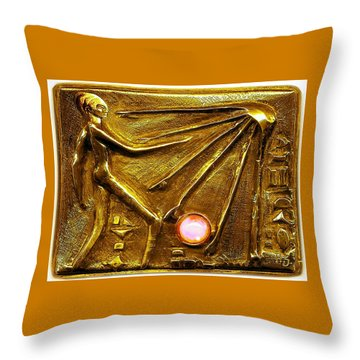 Throw Pillow featuring the relief Sun God Worship  by Hartmut Jager