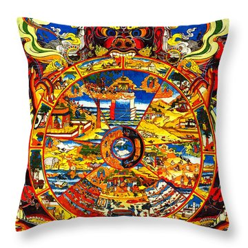 Ancient Tibetan Tangka Wheel Of Life Throw Pillow