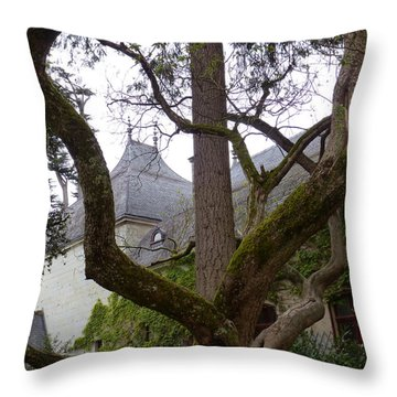 Ancient Tree At Chateau De Chenonceau Throw Pillow by Susan Alvaro