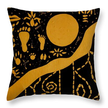 Ancient Worship Tribal Art Throw Pillow by Georgeta  Blanaru