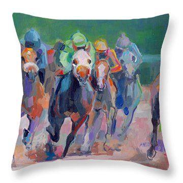 And Down The Stretch They Com Throw Pillow