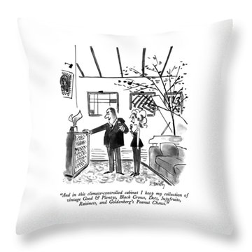 And In This Climate-controlled Cabinet I Keep Throw Pillow