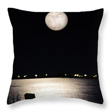 And No One Was There - To See The Full Moon Over The Bay Throw Pillow by Gary Heller