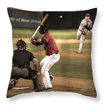 And Now The Pitch Throw Pillow by William Fields