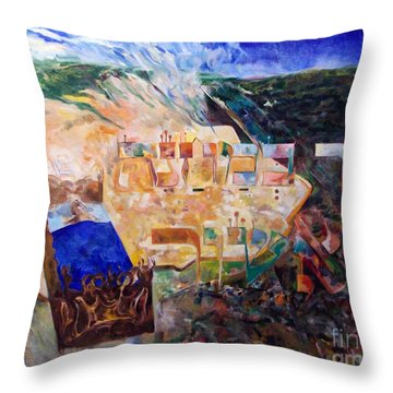 And The Angel Of Hashem Smote In The Camp Of Ashshur Throw Pillow by David Baruch Wolk