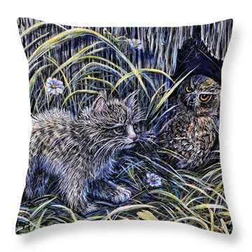 And The Grasshopper Says.. Owl Be Seeing U Throw Pillow by Gail Butler
