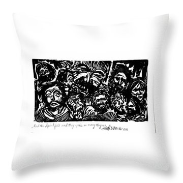 Throw Pillow featuring the drawing And The Spirit Fell by Seth Weaver