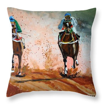 Throw Pillow featuring the painting And The Winner Is by Judy Kay