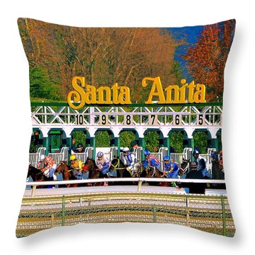 And They're Off At Santa Anita Throw Pillow by Nadalyn Larsen