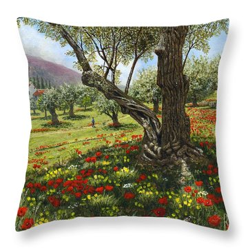 Andalucian Olive Grove Throw Pillow by Richard Harpum