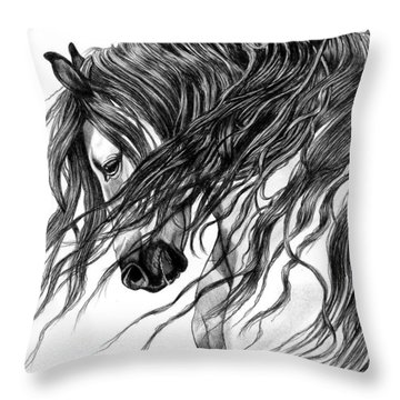 Andalusian Arabian Head Throw Pillow by Cheryl Poland