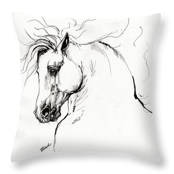 Andalusian Horse Drawing 1 Throw Pillow