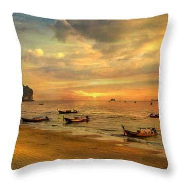 Andaman Sunset Throw Pillow by Adrian Evans
