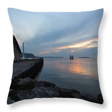 Anderson Dock Sunset Throw Pillow