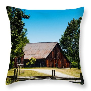 Anderson Valley Barn Throw Pillow by Bill Gallagher
