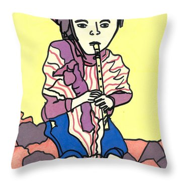 Throw Pillow featuring the drawing Andes Flute by Don Koester