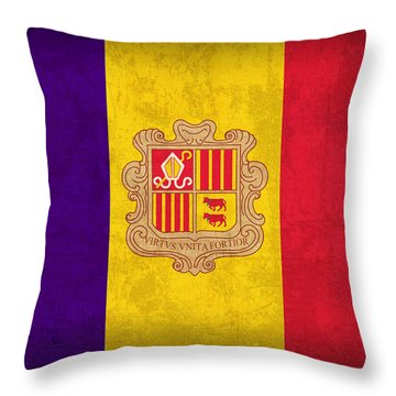 Andorra Flag Vintage Distressed Finish Throw Pillow by Design Turnpike