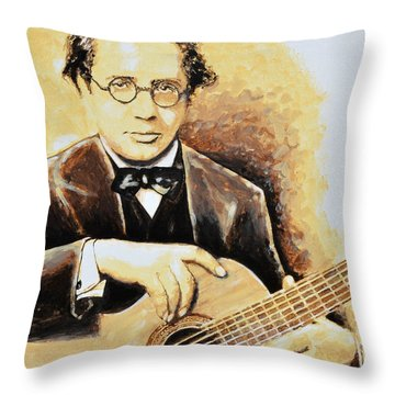 Andres Segovia Throw Pillow by Victor Minca
