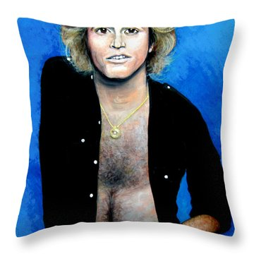 Throw Pillow featuring the painting Andy Gibb An Everlasting Love  by Patrice Torrillo