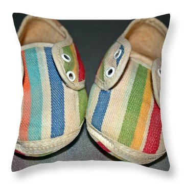 Andy's Shoes Throw Pillow by KayeCee Spain
